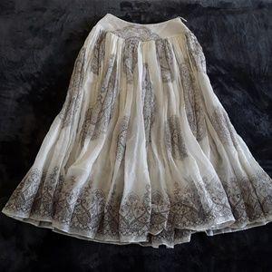 Miu Miu   High Waisted Cream & Brown Maxi Skirt